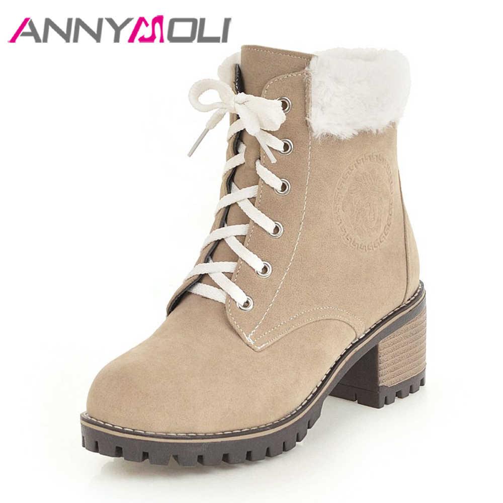 ANNYMOLI cuadrado de tacón alto botas de nieve de invierno de felpa botas de encaje caliente zapatos femeninos marrón negro Beige tamaño tamaño 42 43