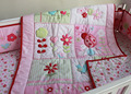 100% cotton Pink 7 pieces embroidery 3D flowers Lady beetle Girl baby bedding set Quilt Bumper bed Skirt Fitted crib bedding set