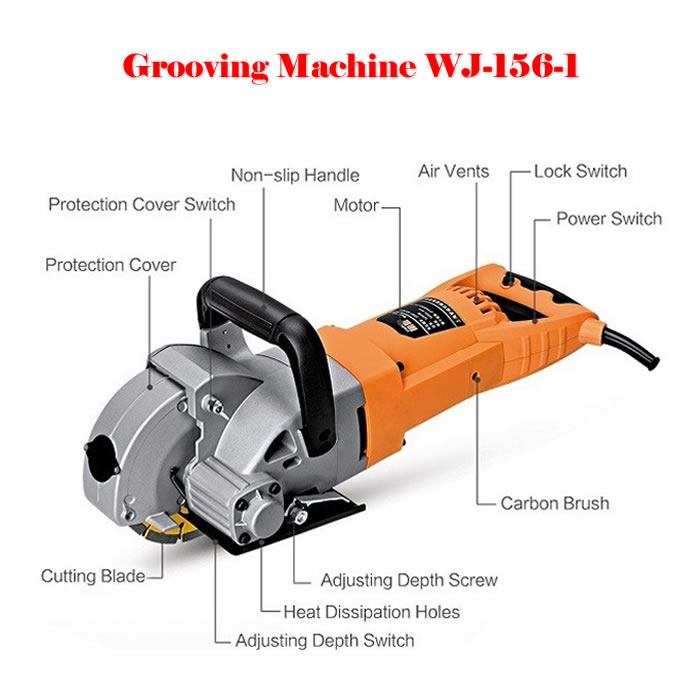 5200W WJ-156-1 Multifunction Wall Groove Cutting Machine Wall Chaser Machine For Brick & Granite Marble no tax cw6121 multifunction wall groove cutting machine wall groove machine wall chaser machine for brick
