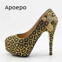 Apoepo Gold Leopard Pattern Crystal High Heel Shoes Woman Thin Heels Dress Shoes 2018 Round Toe