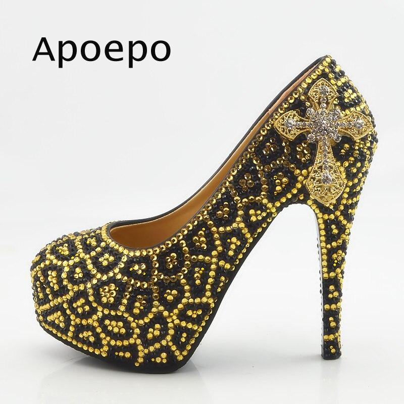 Apoepo Gold Leopard Pattern Crystal High Heel Shoes Woman thin Heels Dress shoes 2018 Round Toe Wedding Shoe platform high heels fashion tassels ornament leopard pattern flat shoes loafers shoes black leopard pair size 38