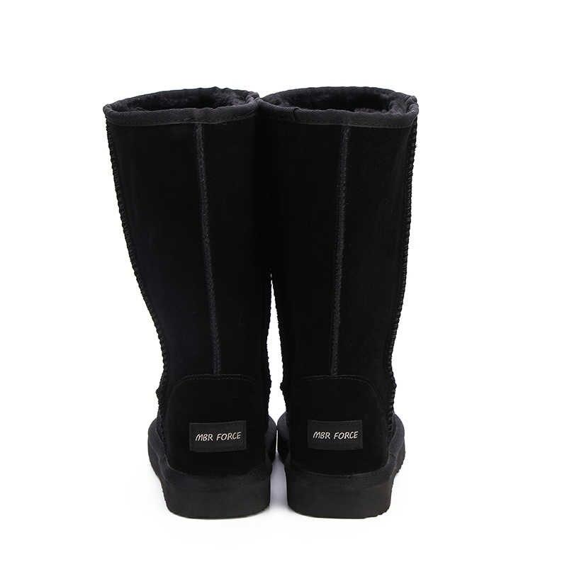 MBR kuvveti yüksek kaliteli kar botları kadın moda hakiki deri avustralya klasik kadın yüksek çizme kış kadın kar ayakkabıları