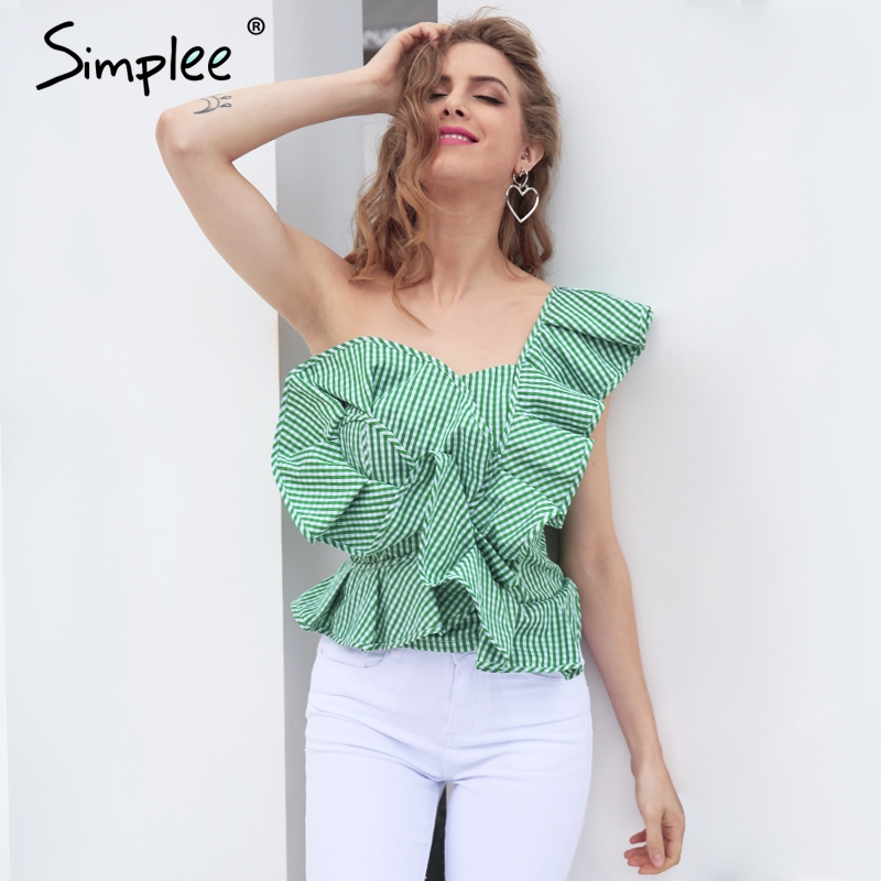 Simplee One shoulder blouse shirt women s