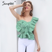 Simplee One shoulder blouse shirt women tops Summer irregular striped shirt blouse chemise femme Elegant ruffles zipper blusas