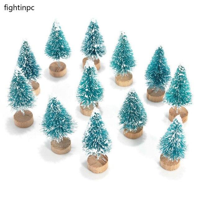 12x Mini Sisal cepillo árboles de Navidad Santa nieve Casa de pueblo ...