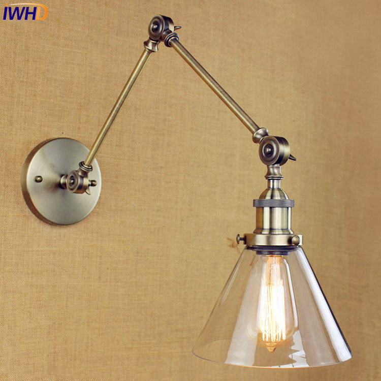 Glass Retro Vintage Wall Lamp Edison Wandlampen Antique Swing Long Arm Wall Light Loft Industrial Sconce Lamparas De Pared long swing arm retro vintage wall light fixtures edison rustic loft style industrial lamp wall sconce wandlampen lampara pared