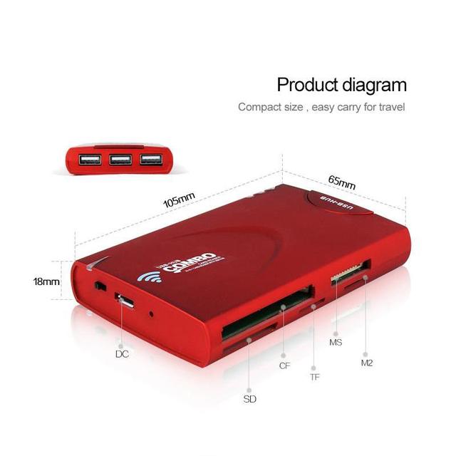 Leitor de Cartão 3 Portas USB Hub HD Wi-fi sem fio 3G Router 1500 mah bateria externa power bank para iphone ipad tablet pc android