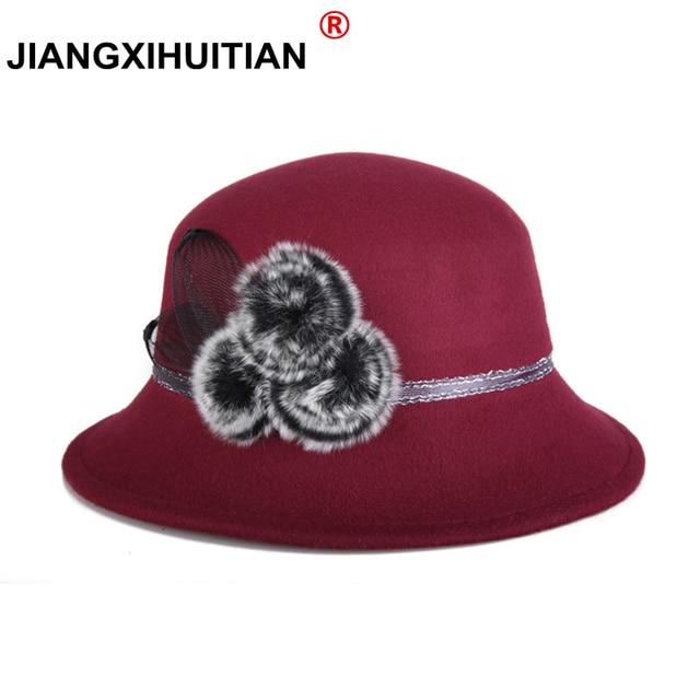 a21bf1faffa84 2018 Brands Winter fur Fedora hats for female ladies felt top hat for girls  homburg Women s