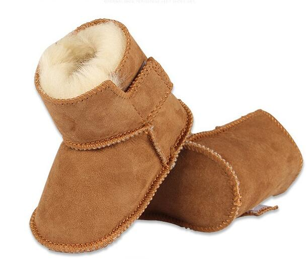 2017 hot sale new genuine leather first walkers winter super warm snow boot Soft bottom goatskin Fur baby girls boys shoes