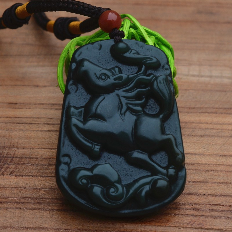 (Certificate) Natural Green Stone Pendant Running Horse Zodiac Horse Pendant Necklace Men's  Jewelry Free Rope