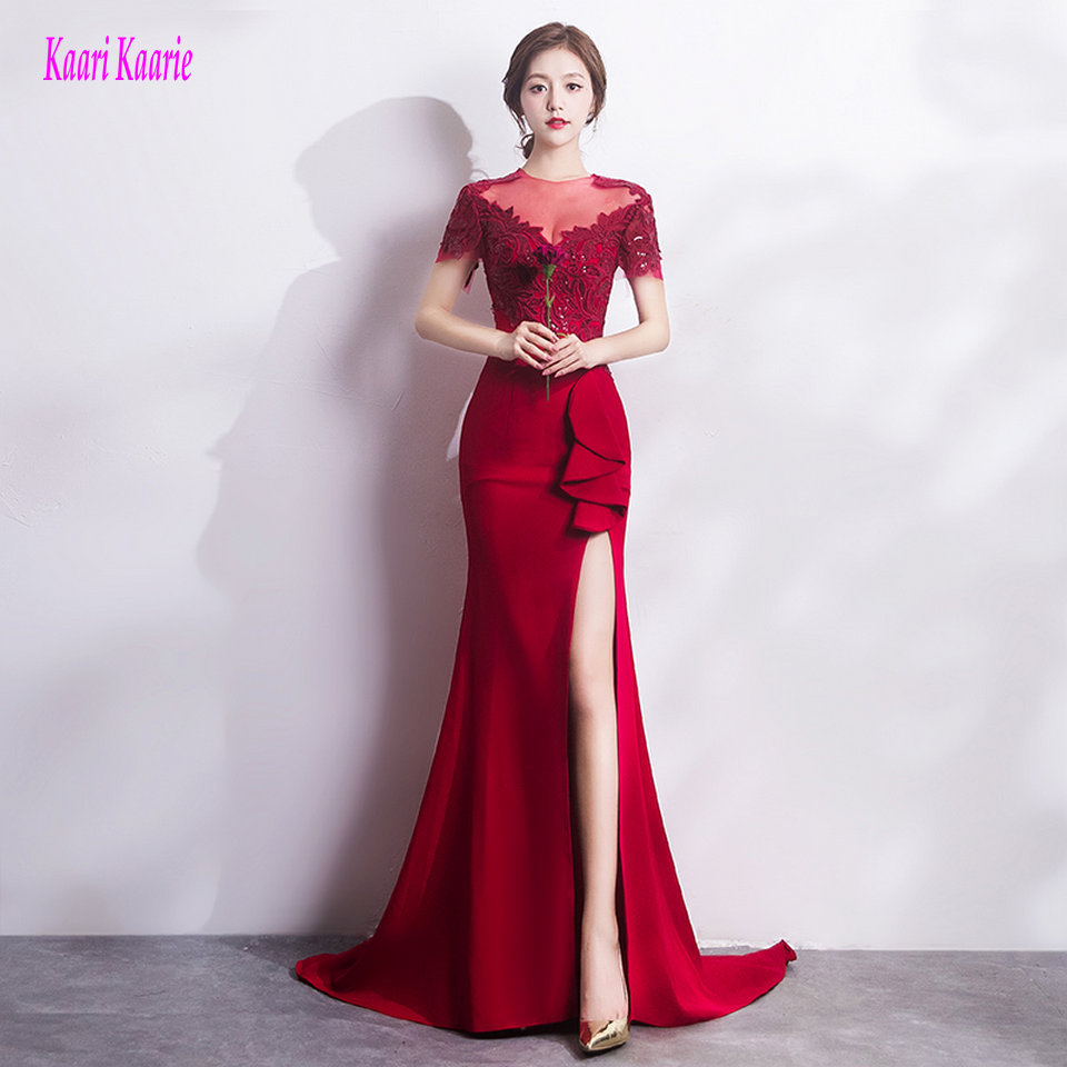 Brilliant Burgundy Mermaid Evening Gowns Long 2019 New Sexy Black Evening Party Dresses O-Neck Appliques Zipper Formal Dress
