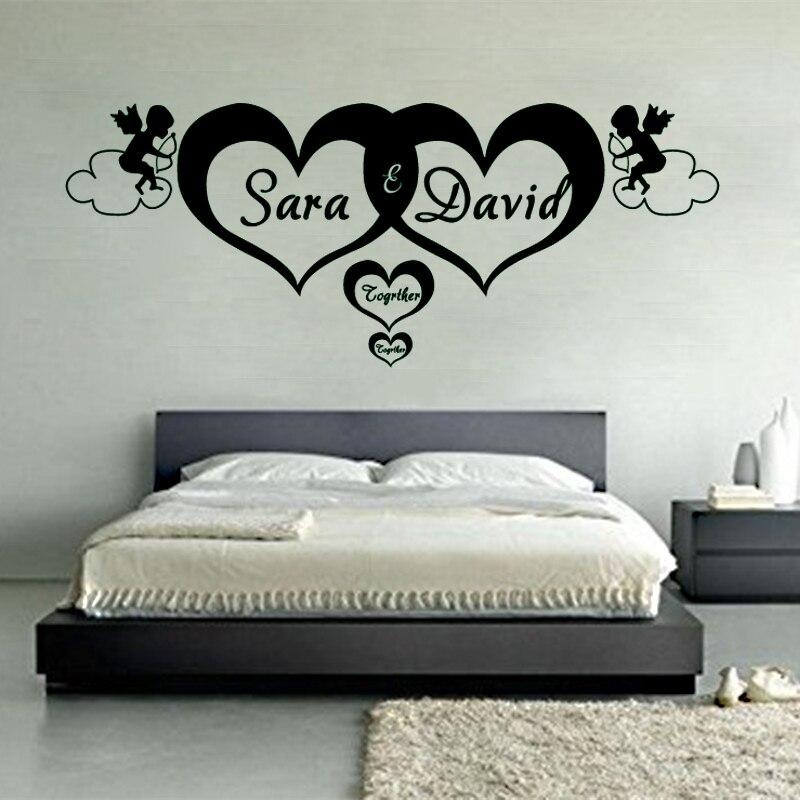 GA07 Sur Mesure Personnalisé Nom Coeurs Pour Toujours Vinyle Mur Art Autocollants Ange Sticker Mural pour chambre D'enfants Chambre Décor À La Maison