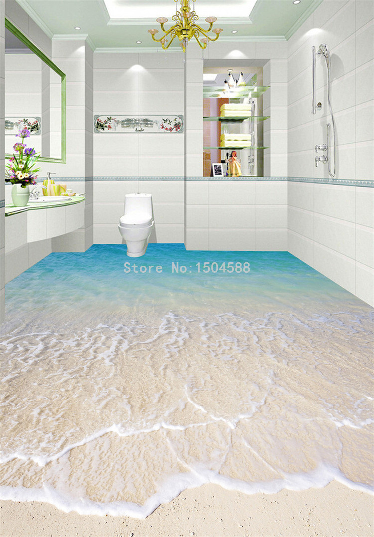 Custom Self adhesive Floor Mural Wallpaper Modern Beach Seawater 3D ...