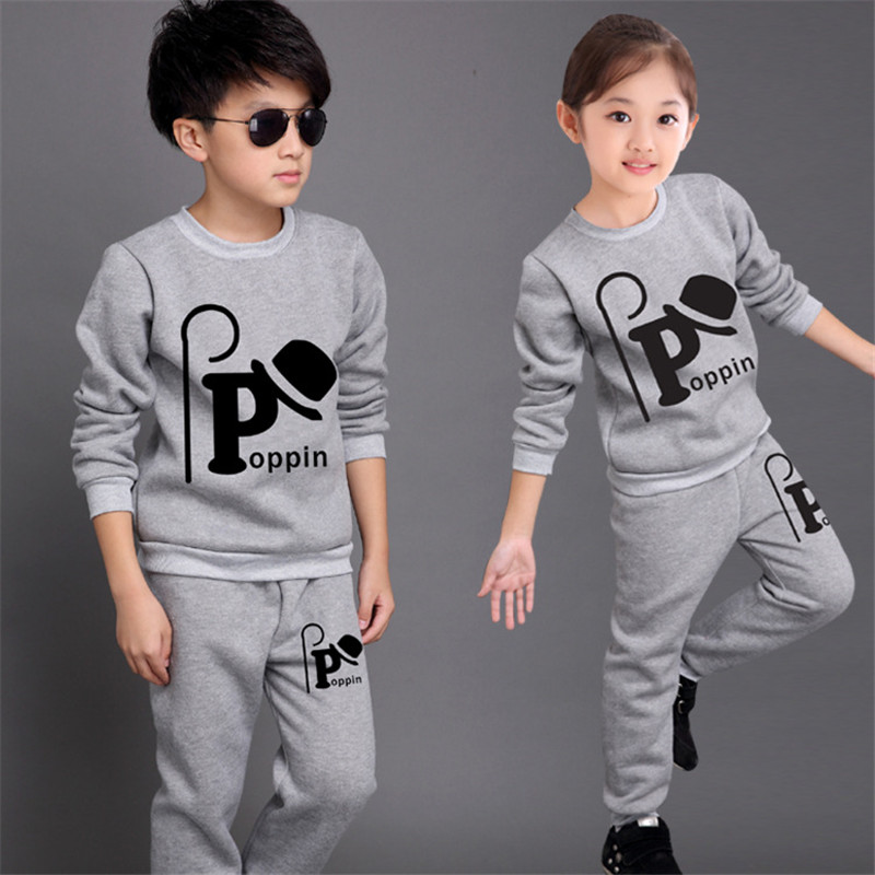 New Fashion Unisex Sets Cotton O neck Character Baby Girls Sweatshirt Boy Trousers 2 Piece Set