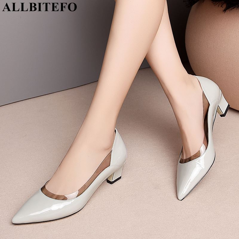 ALLBITEFO high quality genuine leather pointed toe high heels women shoes spring women high heel shoes