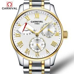 Mody zegarka kobiet zasilania rezerwy złota ze stali nierdzewnej automatyczne mechaniczne szafir wodoodporna czarny zegarek relogio masculino