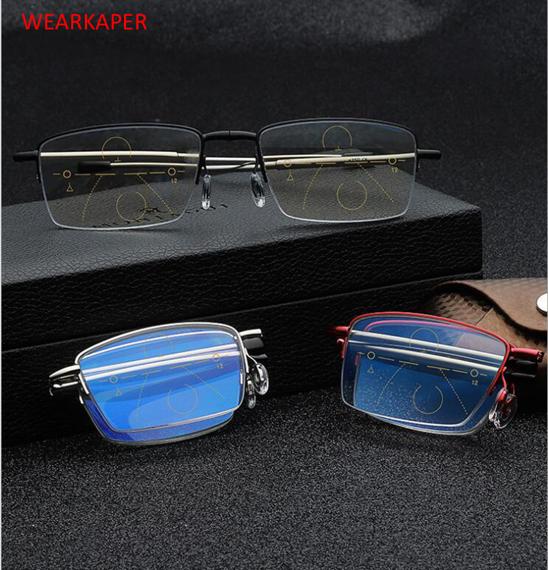 a8ca18ab9a9 Detail Feedback Questions about WEARKAPER High end Multi Focal Progressive  Folding Telescopic Leg Anti Blue Ray Reading Glasses Presbyopia 1.0 4.0  Diopter ...