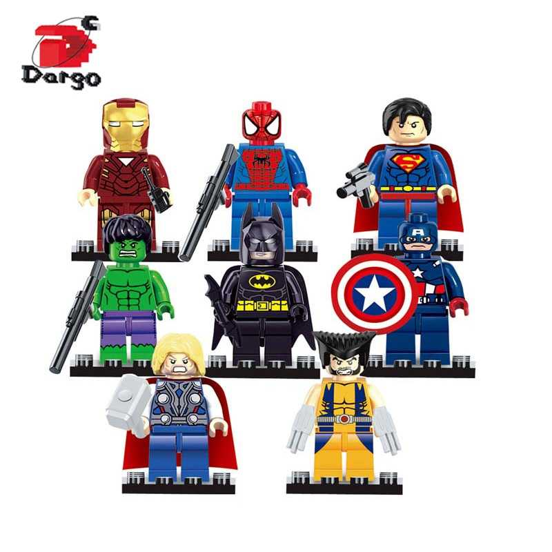8pcs Super Heroes Figures Toys Building Blocks Bricks Toys Compatible legoingly Ninjagoed Ninja Batman Marvel For kids Gifts
