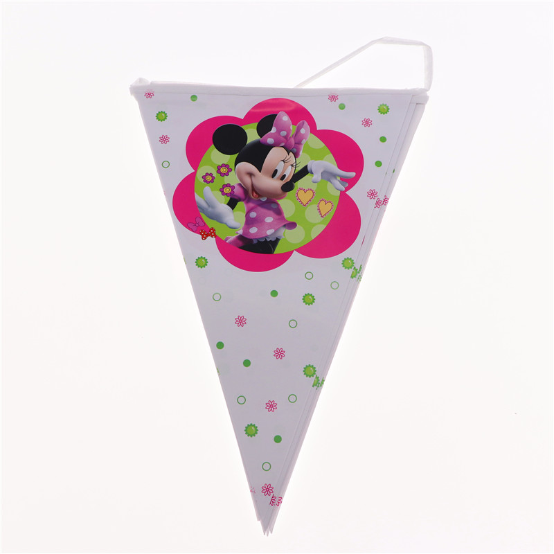 Minnie 10pcs flag birthday Banner happy Wedding Christmas Decoration supplies for baby shower Birthday Party