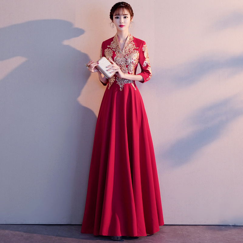V-Neck Wedding Party Chinese Traditional Cheongsam Elegant Satin Lady Qipao Plus Size 3XL Vestidso Long Sexy Women Dresses
