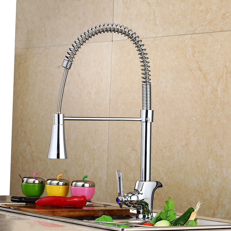 Kitchen Faucet Bronze torneira Sanitary ware spring tap section three pulling a cold and hot water single Chrome ICD60083 china sanitary ware chrome wall mount thermostatic water tap water saver thermostatic shower faucet