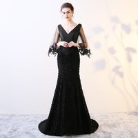 Doparty 2018 mermaid party gown v neck black lace sexy prom long elegant plus size mother of the bride evening dresses XS4
