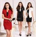 Nueva Plus Size 2015 Primavera Verano Formal de Negocios Trajes de Trabajo Señoras de la Oficina Blazer Chaquetas Y Blazers Estilo Uniforme Falda Conjunto rojo
