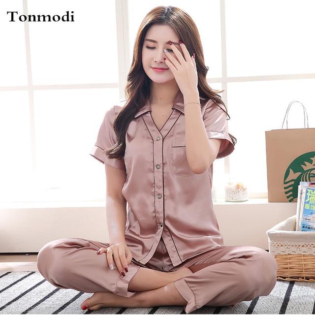 d039814808 Women Silk Pajamas Summer Womens Sleepwear Short Sleeves Sleep Trousers Pyjamas  Ladies Pajamas Set Cardigan