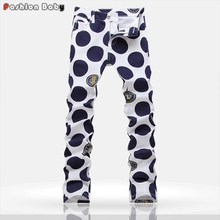 Hot Men's Polka Dot Print Designer Light Thin Jeans Pant Slim fit Fashion Euro American Streetwear Straight Jeans New