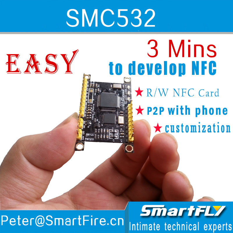 Free Shipping SMC532 NFC Module/ R/W NFC Card/P2P With Phone/libnfc/llcp/ISO/IEC 1443A/B S50/FeliCard/