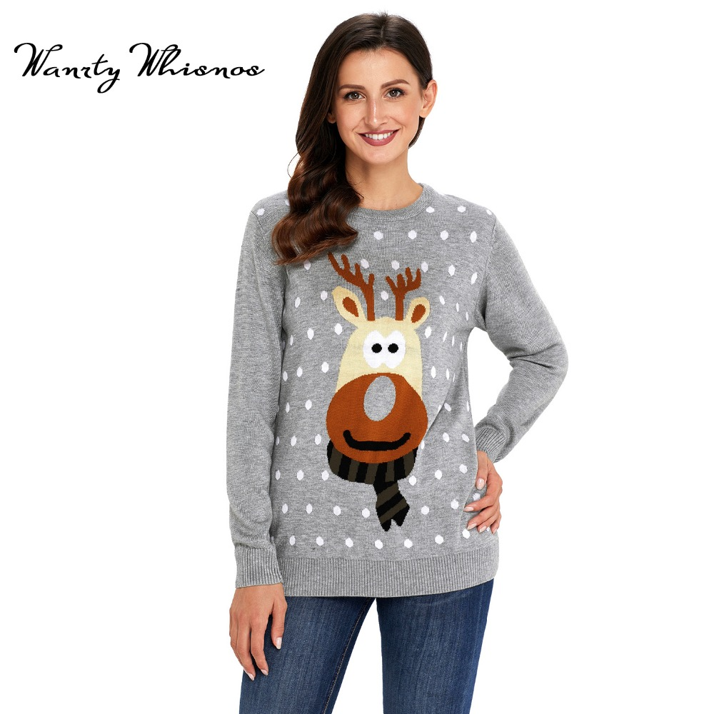 Womens Ugly Christmas Deer Sweater Winter 2018 Cotton O Neck Gray ...
