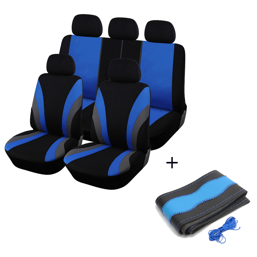 Car Seat Covers Blue Full Set Car Chair Cover Universal With DIY Car Steering Wheel Covers Universal Car For 2018 camry ct200h carking diy abs steering wheel covers stickers for bmw mini cooper red blue multi color