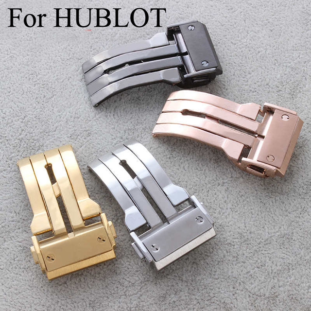 316L Stainless Steel Watch Clasp 18mm 20mm 22mm 24mm Brushed Deployment Watchband Buckle For HUBLO Twatch,With Original Logo