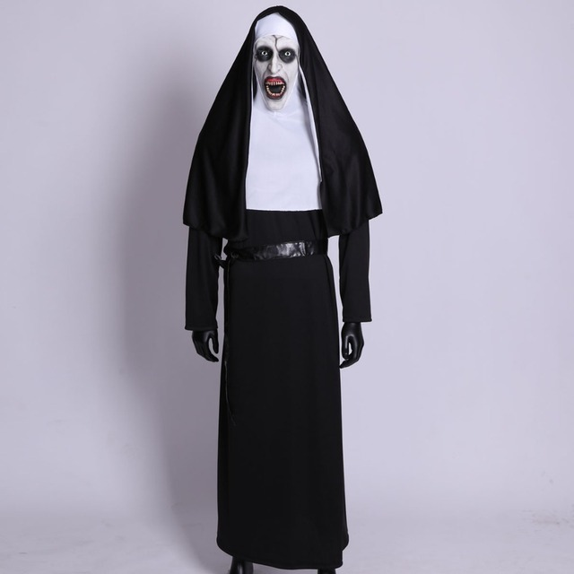 The Nun Horror Cosplay Mask With Costume Valak Virgin Latex Masks Adult Deluxe Clothing Halloween Party Costumes DropShipping 2