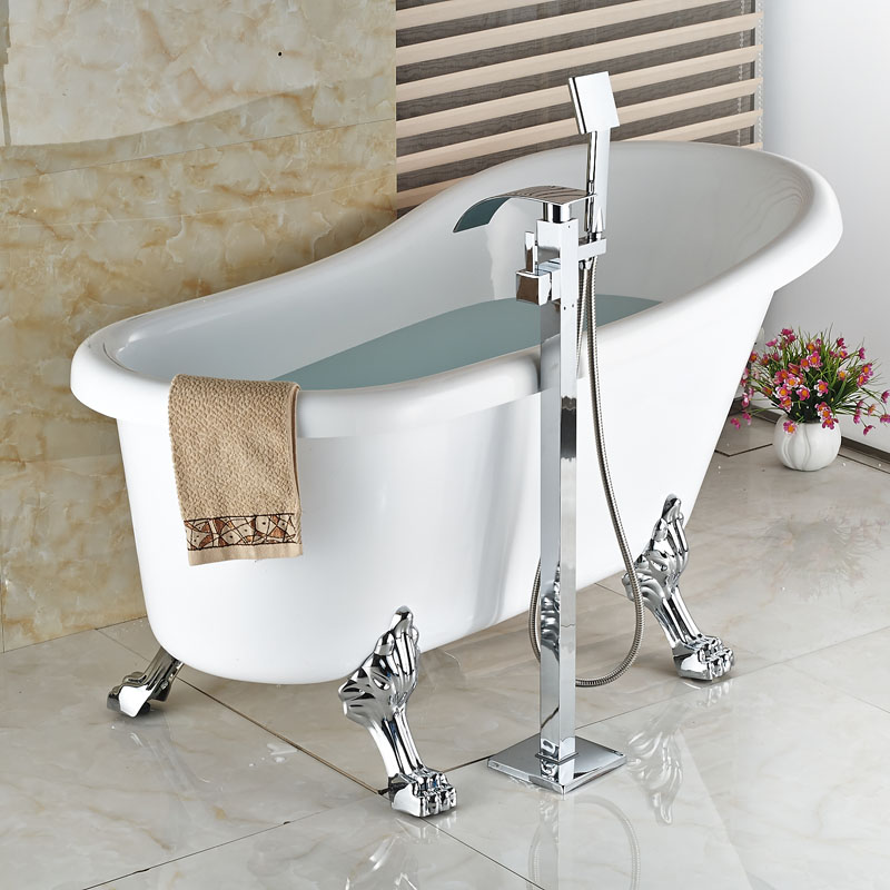 Free Standing Bathtub Floor Mounted Faucet Tap Set & Hand Shower ...