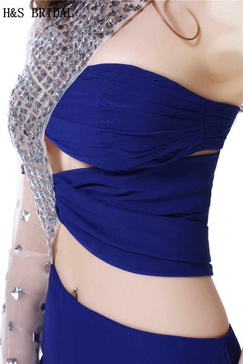 H & S DA SPOSA Una Spalla Manica Lunga vestito da sera del partito Cristalli In Rilievo lungo Chiffon abiti da sera con maniche vestido longo - 5