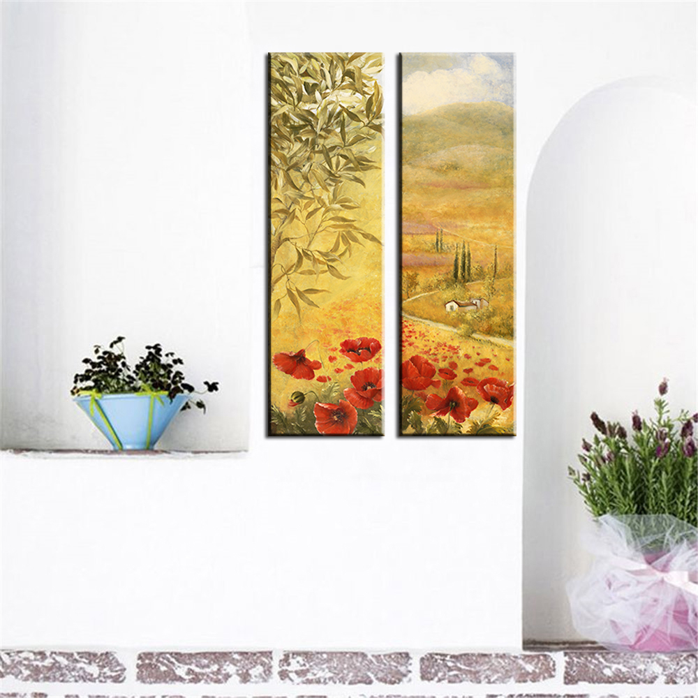 Home Decoration Oil Painting Frameless Canvas Print Colorful Flowers ...