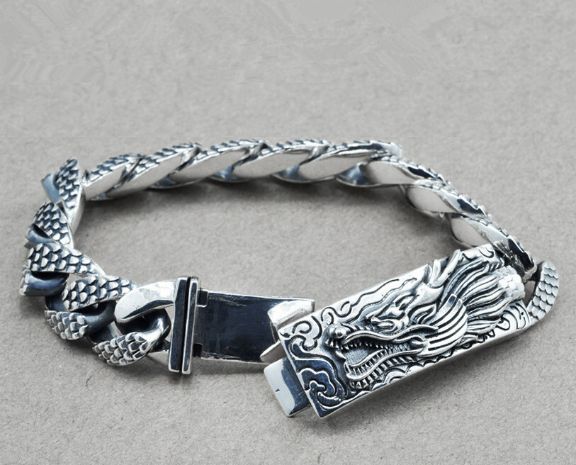 Thai silver bracelet domineering Chinese dragon 925 sterling silver vintage Chain & Link bracelets 2018 thai silver jewelry 925 sterling silver men bracelet male domineering personality retro fashion chain link charm bracelet