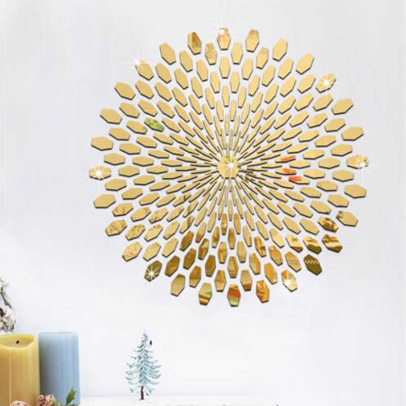 Креативное искусство геометрический узор лепесток декорации фон стены спальни Коридор Настенный декор самоклеящийся акриловый Настенная Наклейка-зеркало