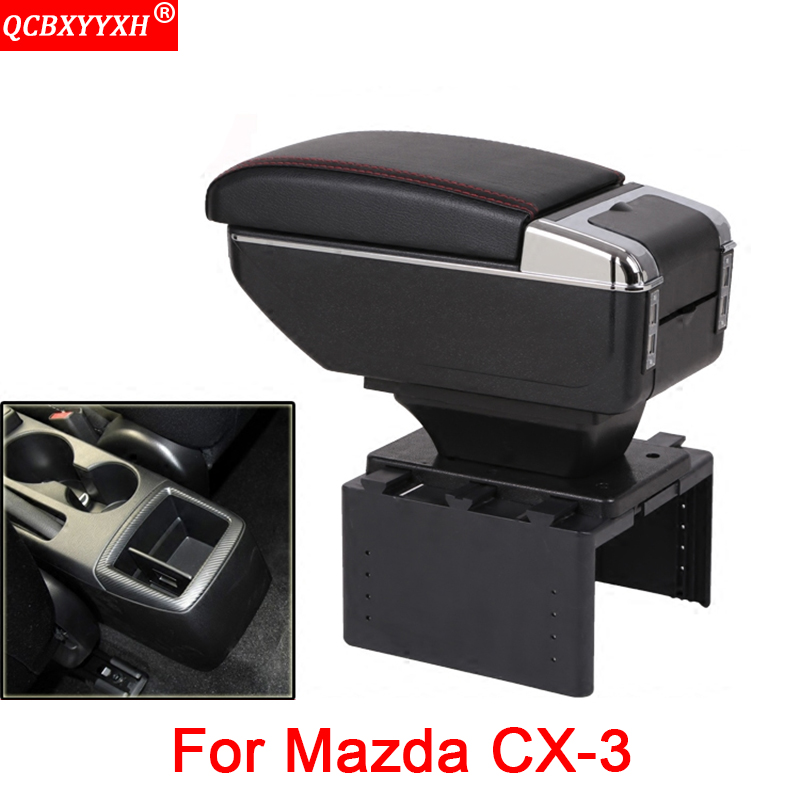 QCBXYYXH Car Styling PU Leather ABS Auto Interior Frame Armrest Storage Box Cover Internal Decorations Stickers For Mazda CX-3 for mazda cx 5 cx5 2017 2018 kf 2nd gen armrest console pad cover cushion support box armrest top mat liner car stickers