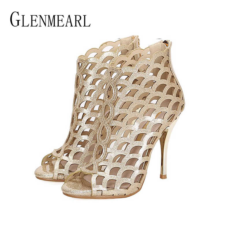 Women Boots Summer Shoes High Heels Open Toes Woman Wedding Shoes Platform  Gold Silver Ankle Boots 1eb74c243dc9