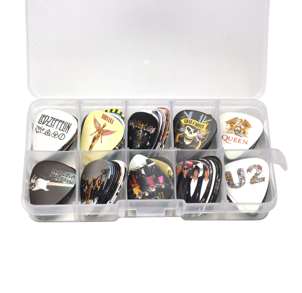 Image 4 - Lots of 100Pcs Rock Band 2 sides Printing Guitar Picks Plectrums With box LED Zeppelin Nirvana ACDC Aerosmith-in Guitar Parts & Accessories from Sports & Entertainment