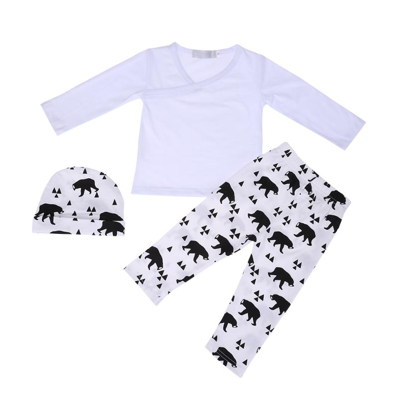 Kids Clothing Set Long Sleeve T-shirt +Animal Print Pants + Hat 3pcs/set Autumn Cotton Newborn Boys Girls Clothes Set