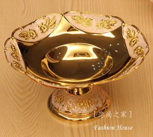 2019 Seconds Kill New 1 Eco-friendly On-glazed Fashion Fruit Plate Dried Dish Ktv Table Snack Tray Gold Color European Style