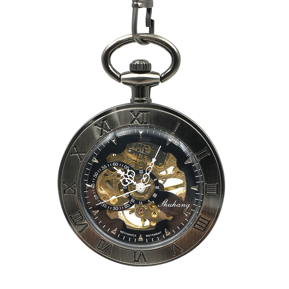 Mens Steampunk Skeleton Open Face Roman Number Case Pocket Watch Mechanical Hand Wind W/Chain Watch Military Analog Gift Watch