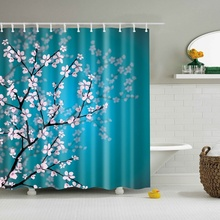 Bathroom Shower Curtains Hanging Decor Fabric Curtain Pink Blossoms Leaves And Plants
