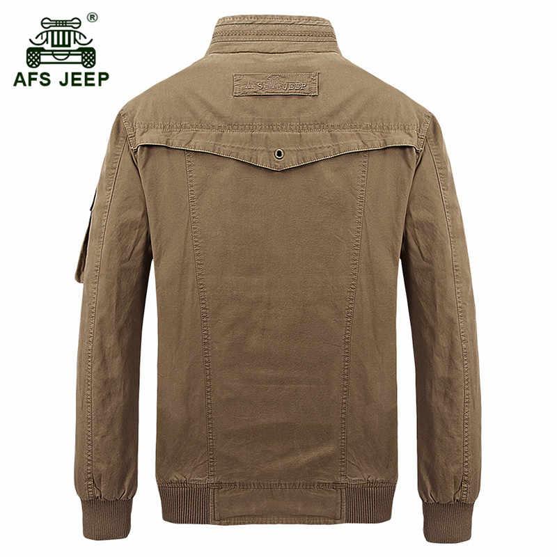 Afsジープブランドミリタリーメンズジャケットコートスタンド襟男性秋冬ジャケット綿カジュアルボンバージャケットjaqueta masculina