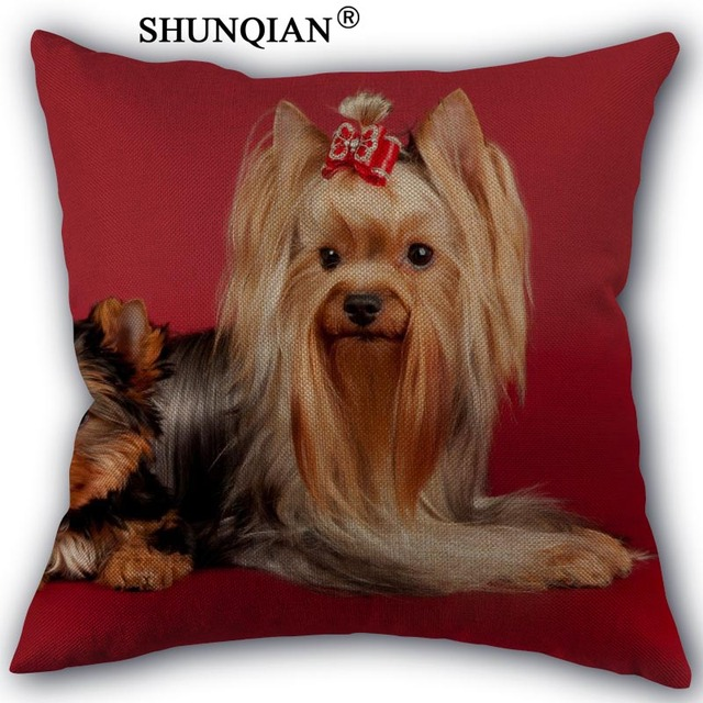 Fashion high quality cotton linen yorkshire terrier pillowcase fashion high quality cotton linen yorkshire terrier pillowcase wedding decorative pillow case for home pillow cover junglespirit Image collections