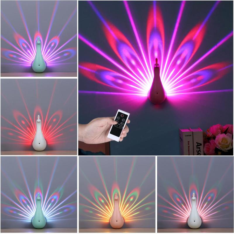 Peacock Shape 3D LED Projection Lamp Remote Control Night Wall Light Lamp Colorful LED Night Light for Corridors Home Decoration