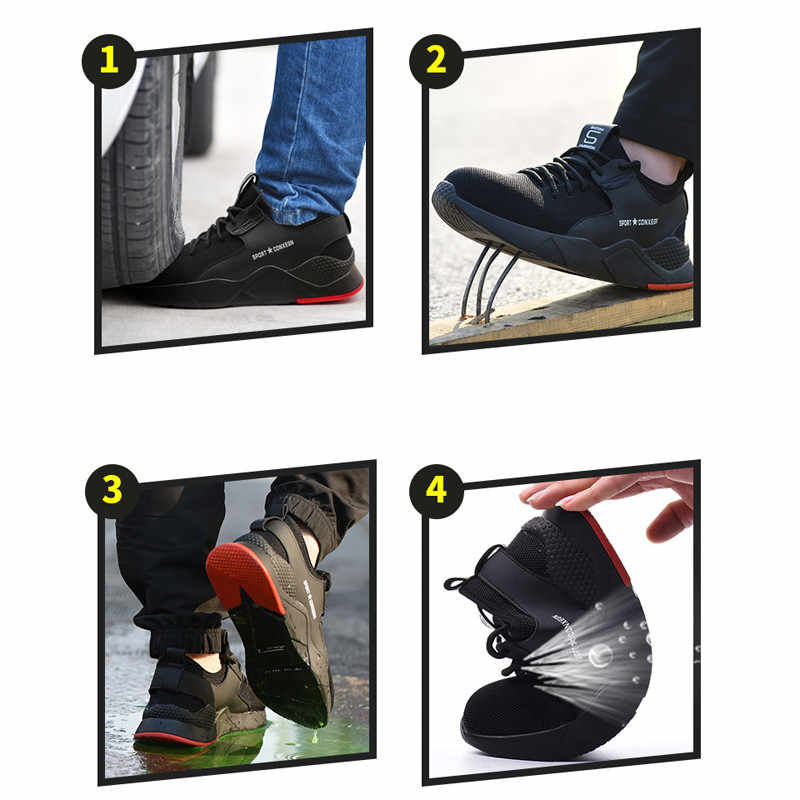 3b08f700274 Men's Work Safety Shoes Men Outdoor Steel Toe Footwear Military Combat  Ankle Boots Indestructible Stylish breathable Sneakers